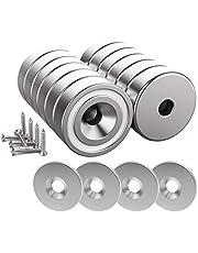 Magnetpro 12 stuks magneet 10 KG Force 20 x 7 mm met verzonken gat en stalen capsule, potmagneten met schroeven en 12 stalen pads
