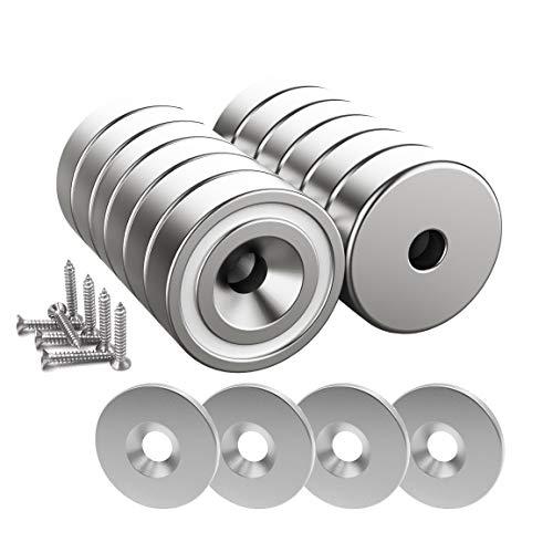 Magnetpro 12 Stück Magnete 10 KG Kraft 20 x 7 mm mit Loch und Kapsel, Senkkopf-Topfmagnet mit Schrauben und 12 Stahlkissen