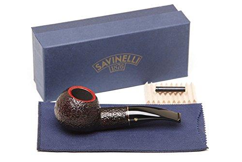 Savinelli Italian Tobacco Smoking Pipes, Roma Rusticated 320 KS 6mm