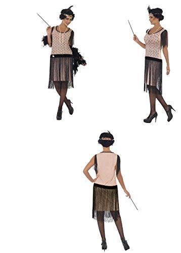 Fancy Dress Four Less 1920's Flapper Kleid Coco Kostüm, mit Brosche, Zigarettenspitze, Perle Halskette und Genickstück mit Brosche und Feder Hen Do/Festival/Karneval/Party 28820Maßband
