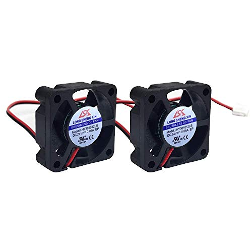 HAWKUNG 2 Pcs 3D Printer Cooling Fan Extruder Accessory 3010 30 x 30 x 10 mm DC 24V 2 Pin Connector Bearing Silent Brushless Heatsink Cooler Blower for 3D Printer, Black