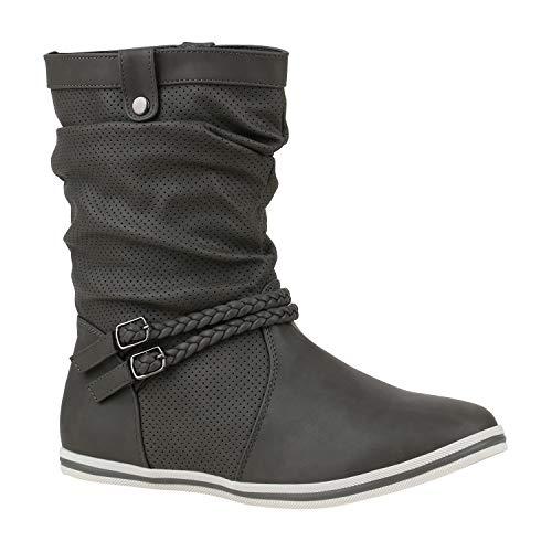 Damen Schlupfstiefel Sportliche Stiefel Leder-Optik Boots Schnalle 172605 Grau Berkley 36 Flandell