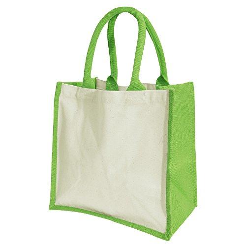 Westford Mill Printers Midi Jute Bag (14 liter) (One Size) (Apple Green)