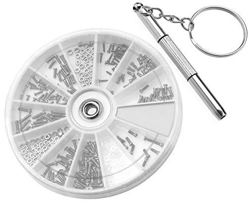 Kit de reparación de gafas de relojes, mini tornillos, tuercas, arandelas, caja surtida con 3-1 destornilladores multifuncionales