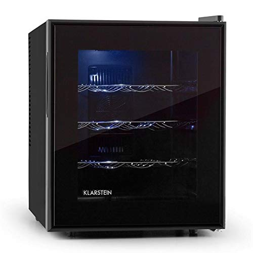 Klarstein Barolo - Nevera para vino, Refrigerador de bebidas, Volumen 48L, Capacidad 16 botellas, Doble aislamiento, Bandejas extraíbles, Iluminación LED, Diseño estrecho, Negro