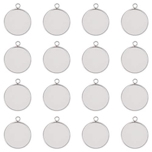 UNICRAFTALE 30 Piezas 20 mm de Acero Inoxidable Colgante cabujón en Blanco Placa Redonda Bisel Colgante bandejas para Bricolaje Collar Pendiente fabricación de Joyas 27x22x2 mm, Agujero 3 mm