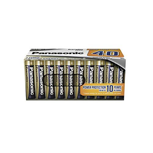 Panasonic EVERYDAY POWER Alkaline Batterie, AAA Micro LR03, 40er Pack in plastikfreier Verpackung, 1.5V, für zuverlässige Energie, Alkali-Batterie