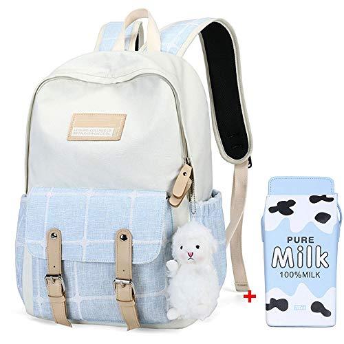 LZH-backpack New Canvas Zaino, Schoolbag per Scuola elementare, Junior High School e Studenti delle scuole Superiori, Borsa per Computer con Zaino Stile College Femminile (Color : Blue)