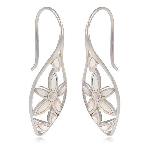 Pendientes de nácar blancos, diseño de pétalos de flores, plata 925