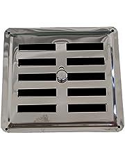 Aangepast Ventilatierooster INOX, Ontluchter Roestvrij Staal AISI 304 Niet-Magnetisch 15 x 14,5 cm, Convectieluchtuitlaat / Inlaatrooster, Gereguleerd Louvre.