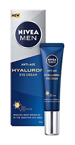 NIVEA MEN Contorno de Ojos Antiedad con Ácido Hialurónico (1 x 15 ml), crema antiarrugas que reafirma la piel, crema de hombre para una piel de aspecto más joven