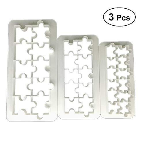 Bestonzon Lot de 3 moules à fondants en plastique de qualité alimentaire Motif puzzle géométrique