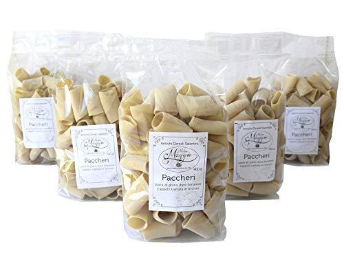 5 Packungen Paccheri Pasta Durum Weizennudeln Senatore Cappelli Bronze gezeichnete Nudeln mit italienischen Weizennudeln mit gemahlenem Steinmehl