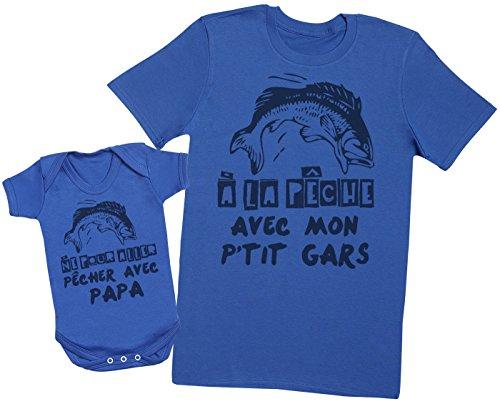 Zarlivia Clothing Né pour Aller pêcher avec Papa - Ensemble Père Bébé Cadeau - Hommes T-Shirt & Body bébé - Bleu - M & 3-6 Mois