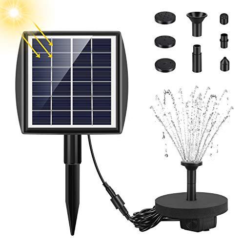Fostoy Solar Springbrunnen, 2020 Neue Solar Teichpumpe, Solar Wasserpumpe mit 2W Monokristalline Solar Panel,für Garten, Kleiner teich, Vogelbad, Fisch-Behälter, Pool