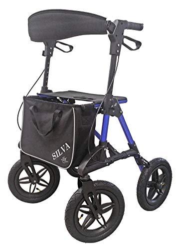Trendmobil SILVA faltbarer Leichtgewichtrollator Geländerollator Rollator inkl. Stockhalterung und Einkaufstasche mit Luftbereifung