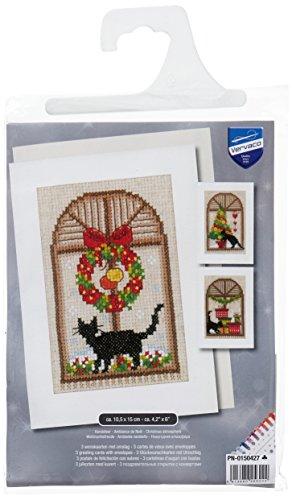 Vervaco kerstvreugde, set van 3 wenskaarten om te borduren in kruissteek, katoen, meerkleurig 10,5 x 15 x 0,3 cm, 3-delig