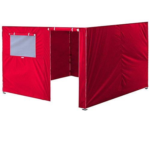 Eurmax Full Zippered Walls for 10 x 10 Easy Pop Up Canopy Tent,Enclosure Sidewall Kit with Roller Up Mesh Window and Door,4 Walls ONLY,Red