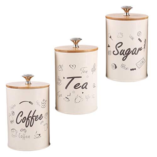 NICEXMAS - Lote de 3 bidones de cocina, caja de azúcar, pasteles de metal rústico, estilo vintage, para harina, azúcar, café, té, decoración de cocina