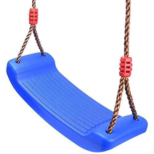 Schaukel Garten Kinderschaukel Schaukelsitz Schaukelbrett Brettschaukel für Kinder zum Schaukeln Outdoor Indoor Höhenverstellbar rutschfest Kunststoff(Blau)