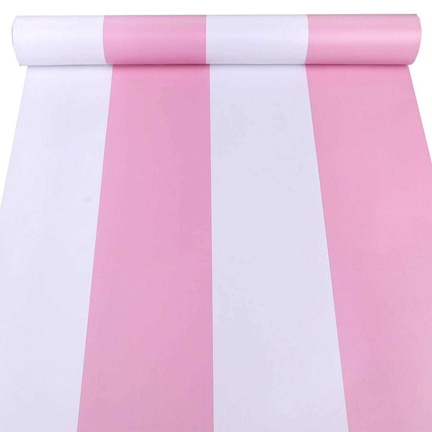 Amao Pink Awning Stripe Peel and Stick Wallpaper for Living Room Bedroom TV Backdrop 17.7'x98'' (Pink)