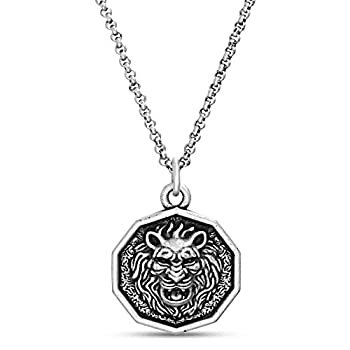 Steve Madden Men s Oxidized Lion Head Coin Pendant Chain Necklace in Stainless Steel Silver 28