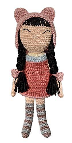 LOOP BABY - gehäkelte Puppe aus Bio-Baumwolle - mit rosa Mütze, gestreiften Socken & süßem Kleid - Baby-Geschenk für Geburt, Taufe oder Geburtstag