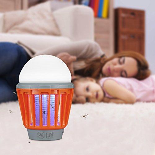ENKEEO Lampe Anti Moustiques Lampe Camping Lanterne Camping Anti Moucheron Etanche avec 2000mAh Batterie Rechargeable (Orange)