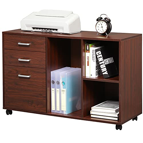 Itaar 39 inches Wooden File Cabinet for Home Office, Printer Stand with Storage(3-Drawer), Mobile Lateral Filing Cabinet with Wheels, Open Storage Shelves for Home Office Study Bedroom, Cherry-red