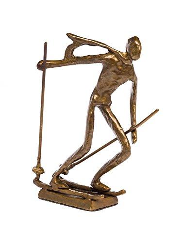 Skulptur Skifahrer Ski Antik-Stil Bronze Figur Moderne Pokal Trophäe