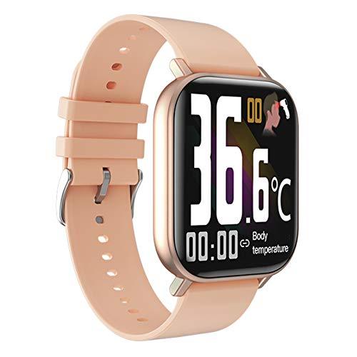 FMSBSC Reloj Inteligente Hombre Smartwatch - Medidor de Temperatura Corporal, Pulsómetros, Monitor de SpO2, Ritmo Cardíaco, Pulsera Actividad Inteligente para Android iOS,Rosado