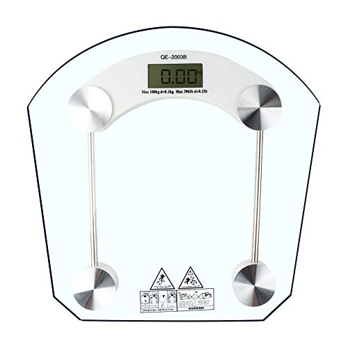 """VIGIND Precision Digital Body Weight Bathroom Scale, Weighing Scale with Lighted Display ,Step-On Technology, LCD Backlit Display, Tempered Glass,400LB.Capacity,One Size,Clear (12.7"""")"""