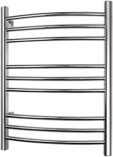 WarmlyYours 9-Bar Riviera Electric Heated Bath Towel Warmer Rack, Hardwired, Wallmountable, Plug in, Programmable Timer, Brushed Stainless Steel
