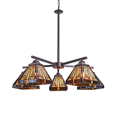 Artzone Tiffany Stained Glass Chandelier Farmhouse Kitchen Light Fixture, 5-Light Dining Room Lighting Fixtures Hanging, Oil Rubbed Bronze Hanging Ceiling Pendant Chandeliers Rustic Light Fixtures
