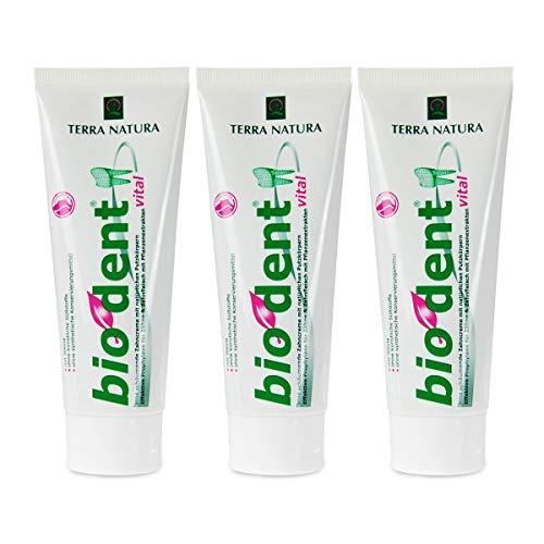 3er Pack Stevia Bio Dent Vital 75ml Zahncreme Zahnpasta