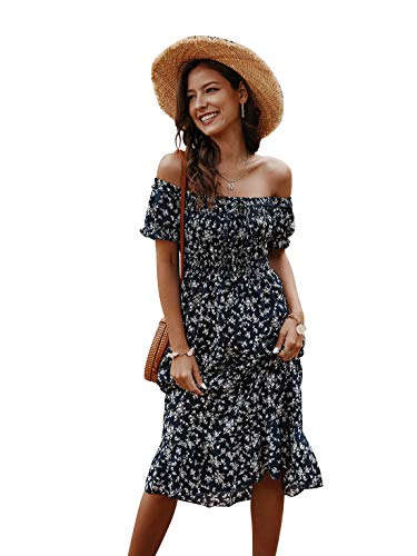Joeoy Women's Navy Summer Boho Floral Short Sleeve Off Shoulder Ruffle Long Midi Dress-M