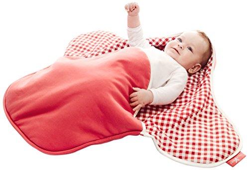 Wallaboo Einschlagdecke Coco, Universal für Babyschale, Autositz, zB. Für Maxi-Cosi, Römer, für Kinderwagen, Buggy oder Babybett, 100% Baumwolle, 90 x 70 cm, Farbe: Rot Kariert