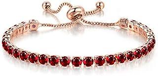 925 Sterling Silver Round Cubic Zirconia adjustable Crystal Bracelet Tennis Bracelet for Women(red)