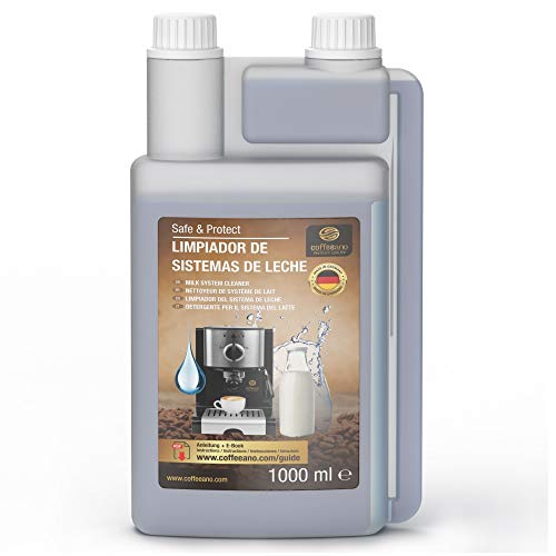 Limpiador de sistemas de leche Coffeeano 1000 ml botella dosificadora para cafeteras automáticas y cafeteras, incluye un libro electrónico