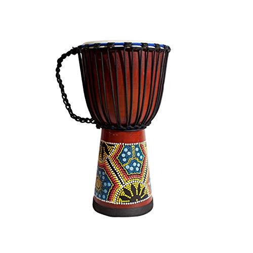 Interactif Instrument de percussion de tambour africain sculpté à la main, bronzage avec sac d'emballage, adapté aux enfants, adultes, débutants (tête de tambour de 10 pouces) Divertissement familial