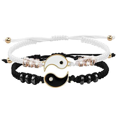 2 Matching Yin Yang Adjustable Cord Bracelet for Friendship Relationship Boyfriend Girlfriend Best Friend Bracelets handmade Braided Bracelets for Best Friend With Gift Card