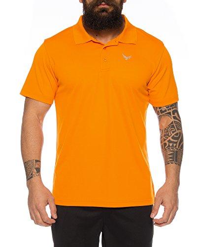 Raff & Taff Polo Shirt Fitness Shirt hochwertiges Atmungaktives Funktionsshirt T-Shirt Freizeit Shirt (Orange, 4XL)
