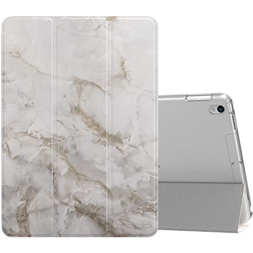 MoKo Case Fit New iPad Air 3 2019(3rd Generation 10.5 inch)/iPad Pro 10.5 2017, Slim Lightweight Smart Shell Stand Cover with Translucent Frosted Back Protector (Auto Wake/Sleep) - Light Gray Marble