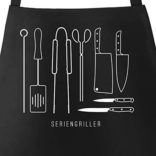 MoonWorks® Grill-Schürze für Männer mit Spruch Seriengriller Grillbesteck Messer Baumwoll-Schürze Küchenschürze schwarz Unisize
