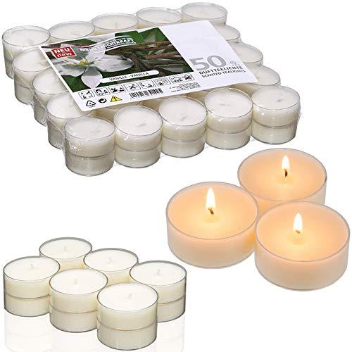 Smart-Planet® Kerzen Ambiente - 50 Stück Vanilleduft Teelichter Packung - Teelicht mit Vanille Duft 50x in transparenter Kunststoff Hülle