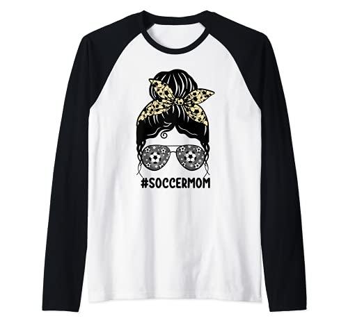 Fútbol Mamá Leopardo Imprimir Moño Desordenado Cabello Vidrios Camiseta Manga Raglan