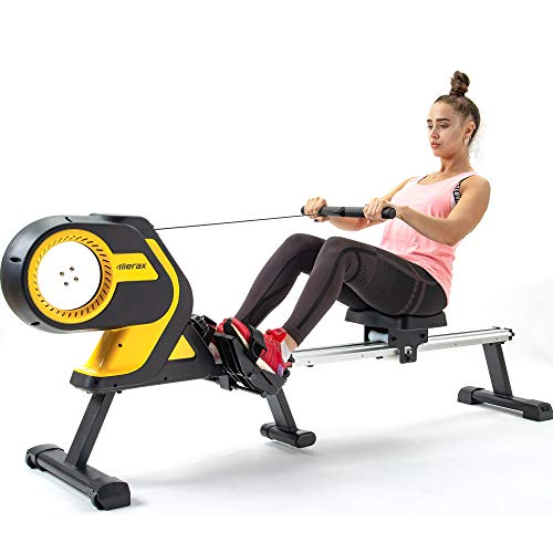 Merax Folding Magnetic Rowing Machine with Performance Monitor, Indoor Rower Machine with 46 Inch Slide Rail, 330 LB Max Weight for Home Use (Yellow)