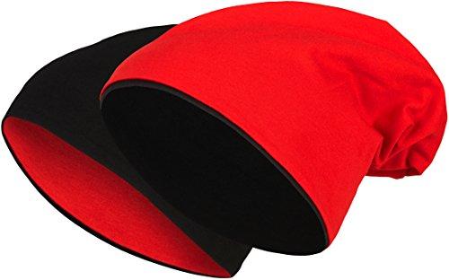 2 in 1 Wendemütze - Reversible Slouch Long Beanie Jersey Baumwolle elastisch Unisex Herren Damen Mütze Heather in 24 (8) (Black/Red)