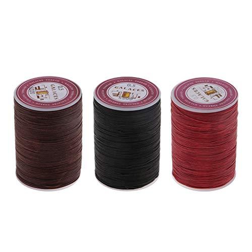 MagiDeal 3 Rollos de Hilo Encerado 0.5mm 130m Cordón de Poliéster Costura Costura Artesanía en Cuero