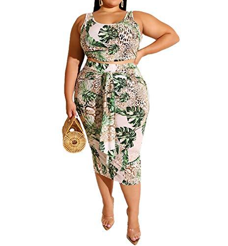 Womens Sexy Plus Size Tie Dye Print Tanks Crop Top Bandage Bodycon 2 Pieces Long Midi Pencil Dresses Outfits Skirt Set Green 2XL